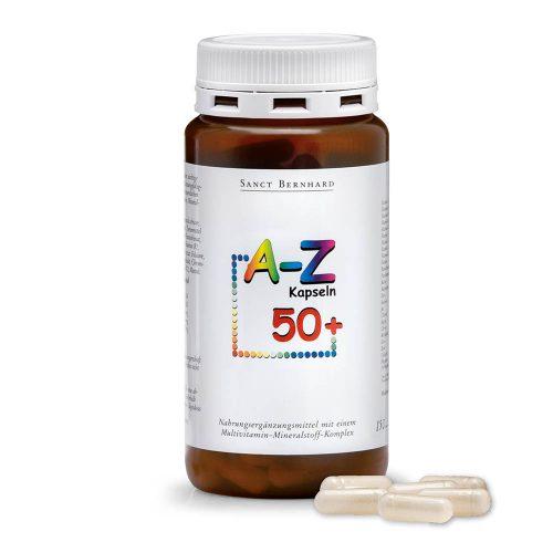 Мултивитамини и минерали A-Z 50+, 150 капсули. Хранителна добавка за хора над 50 години. 24 жизненоважни съставки 1 път на ден! Опаковка 150 капсули за 150 дни