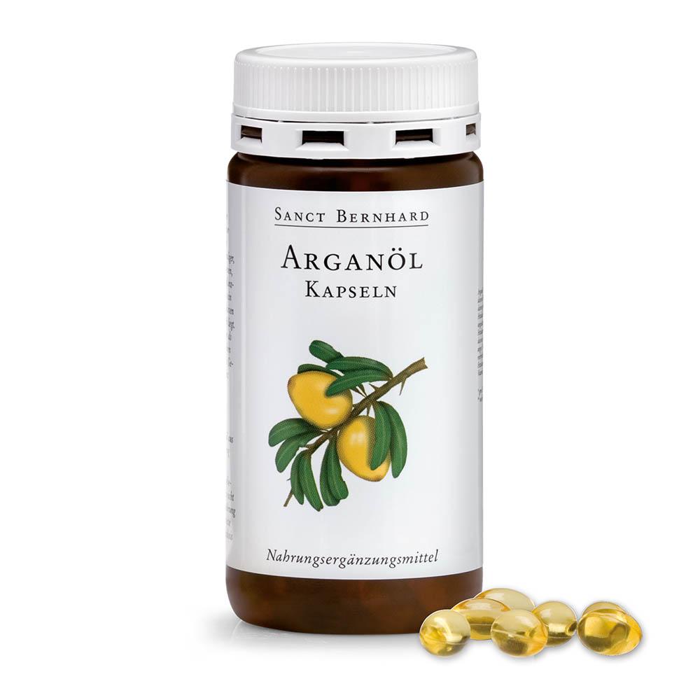 Арганово масло с високо съдържание на основни, биологично активни ненаситени мастни киселини, флавоноиди, витамин Е, каротини и антиоксиданти. С многостранни положителни ефекти върху здравето и красотата. Опаковка 150 капсули за 25 дни.
