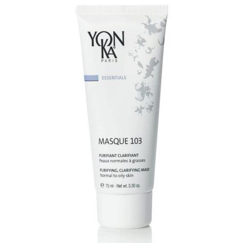 YON-KA MASQUE 103 | Почистваща маска с глина за нормала, смесена и мазна кожа Почиства, матира, свива порите, изравнява тена, детоксикира, прави кожата гладка и сияйна. Маска с цвят на естествено зелена глина и много приятен аромат. Съдържа 3 вида глина, борнеол и етерични масла. Опаковка 75 мл. 99% природни съставки. Без парабени.